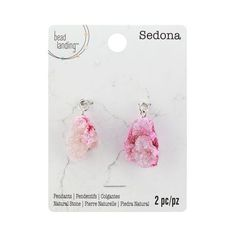 Sedona Light Pink & Dark Pink Druzy Pendants by Bead Landing