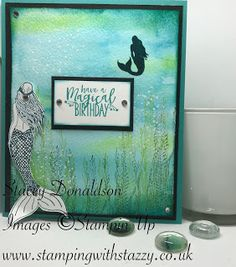 🙘 Mermaid Birthday Card 🙚 Hello All! Today I will be showcasing a beautiful stamp set from the new Stampin' Up catalogue. 3d Cards, Stampin Up Cards, Stampin Up Catalog 2017, Nautical Cards, Rainbow Card, Beach Cards, Lavinia Stamps, Mermaids And Mermen, Card Tricks