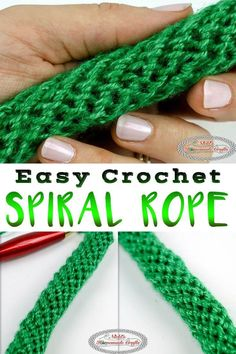 CROCHET TUTORIAL: Easy Crochet Spiral Rope; Learn how to crochet a Spiral Rope, Tube or Cord using this easy to follow crochet tutorial. It uses simple single crochet and can be used for bag handles. This crochet spiral rope tutorial is very detailed and is the easiest crochet rope pattern.#rope #freepattern #crochet #crochetdesign