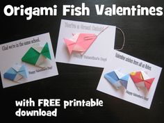 Origami Fish with Printable Valentine Card - gotta try it!