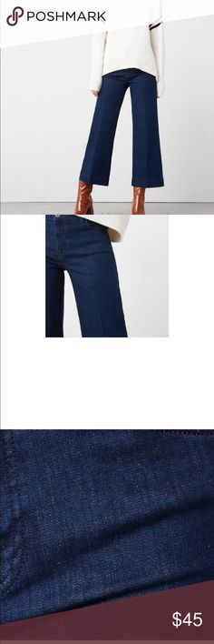 "Wide leg culotte crop jeans Not Zara- mango brand wide leg ""nicki"" jeans. The crop hits me just above the ankle and I'm 5ft 7. This denim has some stretch. Beautiful dark wash color. Size 6- never worn. Too big :( Zara Jeans Flare & Wide Leg"