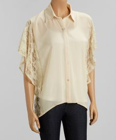 Cream Lace-Back Butterfly Button-Up Top