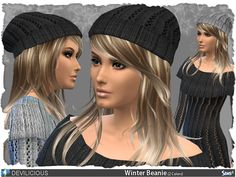 Knitted Winter Beanie  in 3 designs and 2 colors (Needs: GET TO WORK)  Found in TSR Category 'Sims 4 Female Hats'