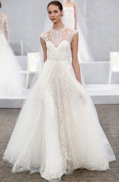 Sweat heart lace wedding gown | Monique Lhuillier Bridal Spring 2015