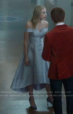 Betty's high-low off-shoulder dress on Riverdale.  Outfit Details: https://wornontv.net/70202/ #Riverdale