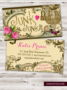 """junk junkie business cards, """"i'll put your junk in my trunk!"""" trashers, junkers, collectors, vintage, chic"""