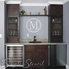 Personalize your home bar or wine cellar with a beautiful rendition of your family name using one of our Custom Monogram Decals available…