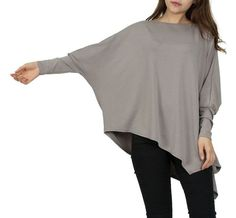 Item Type: Tops Tops Type: Tees Gender: Women Decoration: None Clothing Length: Long Sleeve Style: Batwing Sleeve Pattern Type: Solid Style: Fashion Fabric Type: Jersey Material: Polyester,Spandex Col