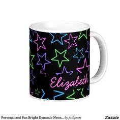 Personalized Fun Bright Dynamic Neon Stars Pattern Coffee Mug Cool, Fun, Bright Dynamic Neon Stars Pattern Flip Flops. #stars #neon #cosmic #neonlights #night #sky #footwear #mugs #drinkware #personalized #customized