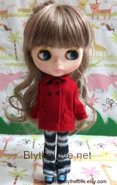 Handmade Blythe clothes for Blythe Pullip 12 inch doll - red coat outfit | eBay