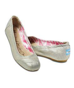 Toms Gray Metallic Linen Ballet Flat. New work shoe