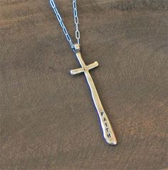 Faith Cross Necklace.  Handcrafted in USA.  Sterling Silver.  $80.00