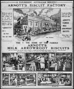 Advertisement for Arnott's Biscuits Limited,George Street,North Strathfield which appeared in 'The Sunday Times', 26 October The factory site has now been redeveloped as a shopping precinct known as the Bakehouse Quarter. Arnotts Biscuits, Old Newspaper, Newspaper Archives, Newcastle Nsw, Victoria Australia, History Photos, Past Life, Historical Pictures, Aussies
