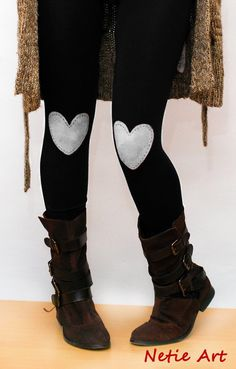 White heart patched leggings/Etsy patch leg, boot, valentine day, hands, red heart, tights, heart patch, black, leggings