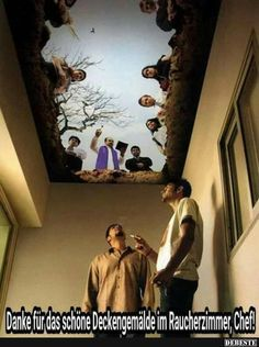 "Burial ceiling design for an Anti-Smoking Campaign in Mumbai, India. It's called ""Cemetery"", and as you can see from the picture, it makes it look like your smoke room is at the bottom of a grave Funny Shit, Funny Memes, Jokes, Ceiling Painting, Ceiling Murals, Floor Painting, Ceiling Installation, Ceiling Ideas, Ceiling Design"