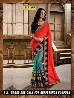 red and blue ambroidery georgette  party wear saree with blouse Sarees on Shimply.com