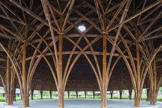 Vo Trong Nghia Architects, Diamond Island project, Vietnam, bamboo, bamboo architecture, skylights, natural materials, sustainable building materials, sustainable wood, wooden pavilions, domes, geodesic domes, prefab, prefab architecture, natural lighting