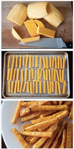 (Healthy & Tasty) Baked Butternut Squash Fries bake at 400 deg. toss squash fries in canola oil, bake on a wire rack on a baking tray about 40 mins, turn over at 20 mins for even crispness Veggie Dishes, Vegetable Recipes, Vegetarian Recipes, Side Dishes, Think Food, I Love Food, Butternut Squash Fries, Baked Squash, Squash Chips