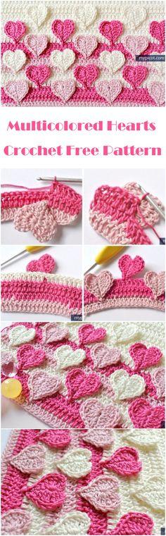 Crochet Multicolored Hearts - Free Pattern