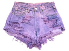 Runwaydreamz - DIY Shorts Maybe in blue and yellow? Dip Dye Shorts, Diy Shorts, Short Tie Dye, Distressed High Waisted Shorts, Waisted Denim, Studded Shorts, Studded Denim, Purple Shorts, Pink Pants