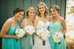 Sea glass colored bridesmaid dresses