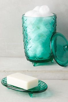 Scalloped Glass Bath Container - http://anthropologie.com