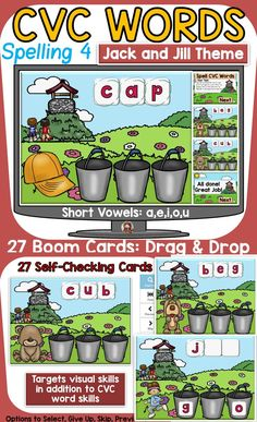 The 27 Nursery Rhyme (Humpty Dumpty) themed Boom Digital Cards will reinforce students' understanding of spelling CVC short vowel words. This is set 4 in the CVC spelling series. It targets students' visual skills in addition to their knowledge of spelling CVC short vowel words. Jolly Phonics, Teaching Phonics, Nursery Rhyme Theme, Nursery Rhymes, Phonemic Awareness Activities, Compound Words, Social Studies Resources, English Reading, Word Sorts