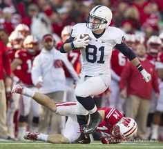 PENN STATE – FOOTBALL 2013 – Penn State tight end Adam Breneman shown here scoring on a touchdown pass against Wisconsin, is up to 247 pounds and plans on playing at 250 in Joe Hermitt, PennLive Football 2013, Football Season, Football Helmets, Patriots News, Pennsylvania State University, Tight End, Social Events, Athletics, Charlotte