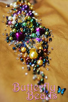 Butterfly Beads - Sulaman Manik dan Labuci, Kelas Jahitan Sulaman Manik: Scattered Pearls (Brown+Purple+Green)