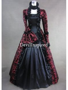 Red and Black Floral Pattern Masquerade Gothic Victorian Dress