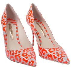 Pre-owned Sophia Webster Nib Loal Red/spearmint Leopard - Size 38 Neon... ($289) ❤ liked on Polyvore featuring shoes, pumps, heels, neon, red stilettos, pointy toe pumps, red pointed-toe pumps, patent leather pumps and leopard print pumps