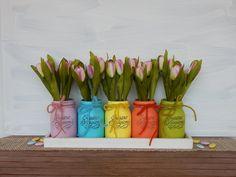"""Vasi dipinti """"Colori di Primavera """" Set da 5 pezzi - Pasqua - Festa di Primavera - Battesimo, by Luci del Nord, 23,00 € su misshobby.com"""