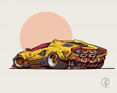 Future Shock Lambo by Fernando Correa Auto Illustration, Bmw E24, Cool Car Drawings, Cyberpunk Art, Cyberpunk 2020, Cyberpunk Fashion, Cyberpunk Tattoo, Futuristic Cars, Futuristic Vehicles