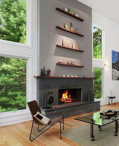 "contemporist: ""Design Idea For Above A Fireplace – Stack The Shelves """