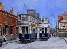 "Birmingham trams Nos 832 and 750 on Pershore Road : The buildings to the left of car 832  still exist as does the public house ""Dogpool"" in the background. the road layout is also unchanged. This painting is available for purchase at the cost of £575."