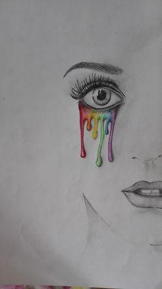 Zeichnung: Regenbogen-Tränen. Habt ihr Tipps, wie ich meine Zeichnung verbessern könnte?  #gutefrage #malen #zeichnen #drawing #painting #tears #skizze