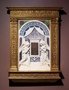 Workshop of Andrea della Robbia ~ Tabernacle ~ ca.1470s ~ Isabella Stewart Gardner Museum ~ This sculpture is first glazed in a technique after an initial firing. The terracotta is then coated with white glaze and fired a second time. Individual colors were then added, each color fired separately at specific temperatures. The result was a glass-like coating that fused to the terracotta. In Florence, Luca della Robbia and his family invented an intense white glaze rich in tin oxide, as seen…