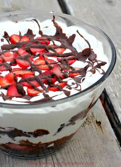 Chocolate Covered Strawberry Brownie Trifle Delight on MyRecipeMagic.com