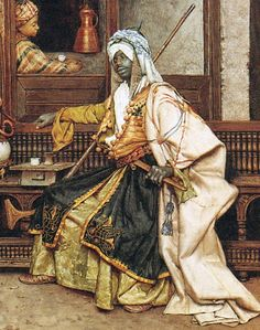 An Oriental Coffee House (detail view). 1877, Charles Bargue (c. 1826/1827 – April 6, 1883) was a french artist. A lithographer as well as a painter, who devised a drawing course.