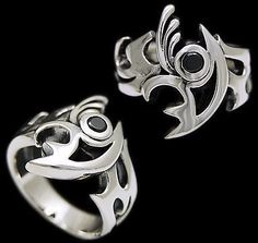 ABSTRACT EYE BLACK Cz 925 STERLING SILVER US Size 9 BIKER ROCKER GOTHIC RING