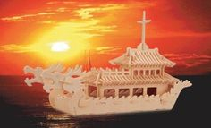 """Puzzled Chinese Dragon Boat Woodcraft Construction Kit by Puzzled. $15.39. Chinese Dragon Boat 3D Woodcraft Construction Kit. 141 piece Wooden 3D Puzzle. Assembled Size: 16"""" L x 7"""" W x 6 1/2"""" H. All pieces interlock with each other forming a 3D model. NO cutting tools or glue required since all designs are pre-cut. From the Manufacturer                Check it out! This high grade 3mm plywood 3D Wooden puzzle kit is fun and easy to assemble! This puzzle kit comes individually s..."""