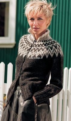 Billedresultat for strikkeopskrifter sweater Knit Vest Pattern, Sweater Knitting Patterns, Knitting Stitches, Knitting Designs, Ropa Free People, Fair Isle Pullover, Icelandic Sweaters, Fair Isle Knitting, Vintage Knitting