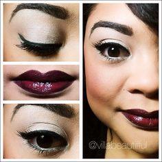 deep berry lips with Smashbox Black Cherry Be Legendary Lipstick #makeup
