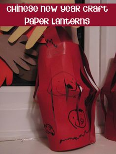 Chinese New Year Craft simple paper lanterns for toddlers and preschoolers to make. I remember making these as a kid.