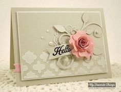 handmade card fromThe Scalloped Edge: Hello ... gorgeous dimensional flower with a rolled rose center ... montage of die cuts under the flower makes a great focal point ... moroccan tile stencil with modeling paste ...  luv the pale gray card with white tiles and pearls ... My Favorite Things