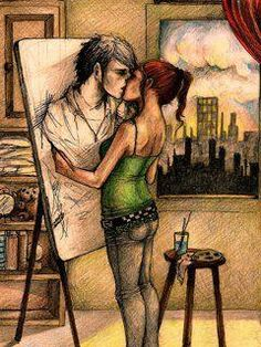 art; artists; painting; paintings; drawings; couple; lovers; love