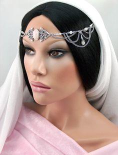 Adalyn Circlet - Bridal Rose Quartz Gemstone Swarovski Crystal Rhinestone Silver Wedding Headpiece