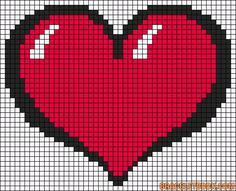 Ideas For Crochet Heart Graph Perler Beads Bead Loom Patterns, Perler Patterns, Bracelet Patterns, Beading Patterns, Kandi Patterns, Crochet Patterns, Pixel Crochet, Crochet Chart, Pixel Art Coeur