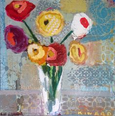 Bouquet With Grey and Blue - Mixed Media - Christy Kinard