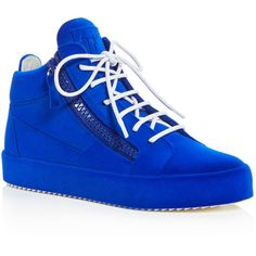Giuseppe Zanotti Velvet Zipper Mid Top Sneakers ($885) ❤ liked on Polyvore featuring shoes, sneakers, elektrikos blue, giuseppe zanotti trainers, blue shoes, zipper shoes, blue velvet shoes and zip sneakers